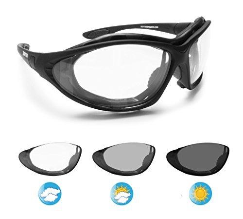 Bertoni Photochrome Motorradbrille Schutzbrille Selbsttönende Antibeschlag UV Schutz mit austauschbare Bügel oder Kopfband by Italy - F333A Automatische Scheibentönung Kat 0 bis 3