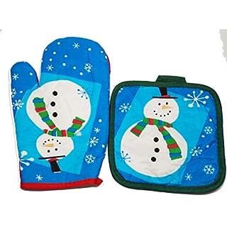 ChristmasDay07 Christmas Oven Gloves/Mitt Set - Christmas Snowman Santa Light Red