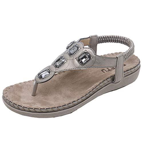 SHE.White Damen Sandalen Schuhe Knöchelriemen Roman Gummiband T-Strap Gladiator Sommerschuhe Flats Thong Sandalen Sommer Schuhe Strand Flip Flop Hausschuhe