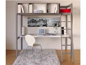 Lit mezzanine GIACOMO - 90x190cm - bureau et rangements intégrés - Epicea gris