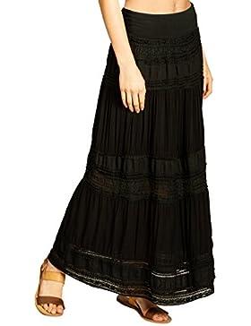 CASPAR RO023 Falda Bohemia para Mujer/Falda Larga con Encaje de Algodón