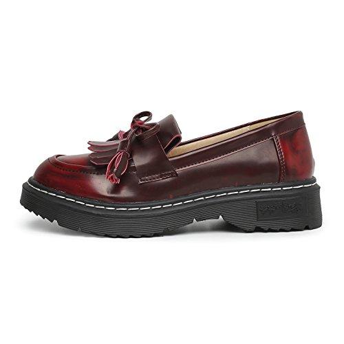 Plataforma Caminando Mujer Vestir Cuero De Zapatos De De Deporte Rojo Cómodos Zapatillas Casual Moda Derbis 43 De Jrenok 34 Mocasines q6dZwxpq