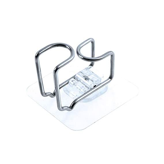 TEEPAO Washbasin Holder, Multifunction Non-Marking Stainless Steel Self Adhesive Hook, Paste Firmly and Strong Bearing Capacity, No-Nailed Hook for Washbasin, Towel and Baby Bathtub