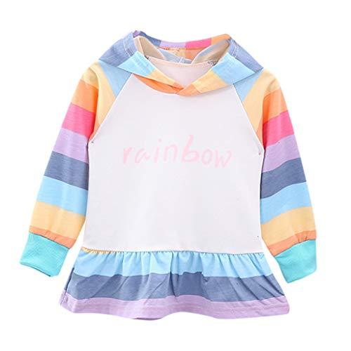 DIASTR Neugeborene Kleidung Unisex Baby Kinder Mädchen Kleinkind Regenbogen Brief Mit Kapuze Langarm Rock Kleid Armee-grün, Rosa (0m-6y) (Armee Mann Kostüm Kleinkind)