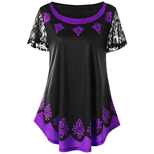 VEMOW Kommende Grace Damen Mädchen Frauen Casual Täglichen Arbeit Oansatz Spitze Plus Size Tribal Print T-Shirt Tops Bluse Pullover Tees Pulli(Violett, EU-48/CN-2XL) -
