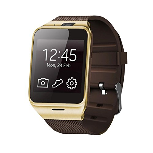 Malloom® GV18 intelligente Bluetooth Uhr GSM NFC Kamera TF Karte Armbanduhr für iPhone (gold)