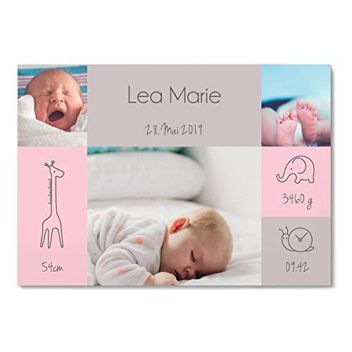 greetinks 40 x Geburtskarten \'Wild Life\' in Grau | Personalisierte Karten zur Geburt zum selbst gestalten | 40 Stück Babykarten Dankeskarten