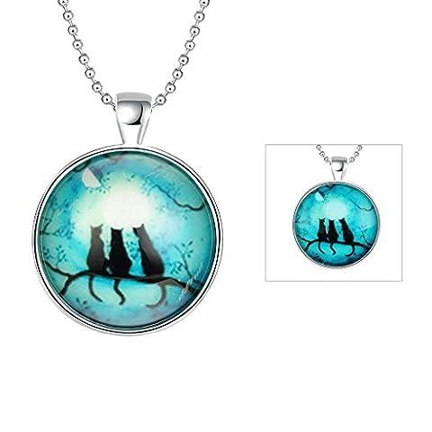 anazoz Fashion Jewelry en alliage rond vert fluo colliers trois chats en bleu sarcelle Moon Pendentif pour femme Noir Vert clair