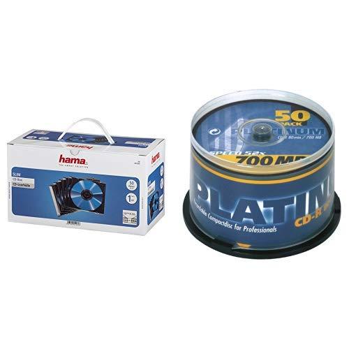 Hama CD Leerhüllen Schutzhülle (Slim Line, Höhe: 5mm, CD-Hüllen) 50er Pack, transparent-schwarz + Platinum CD-R 700 MB CD-Rohlinge (52x Speed, 80 Min) 50er Spindel