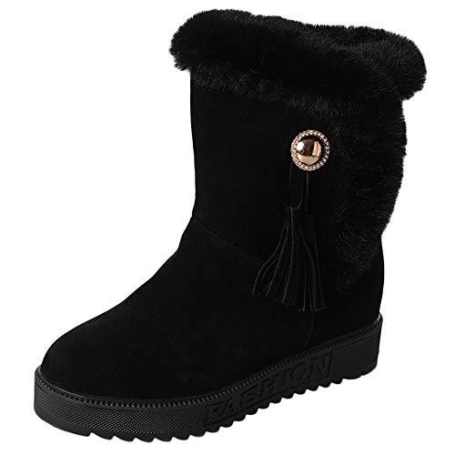 Fuibo Damen Stiefel, Women's Suede Plush Tassel Round Toe Flat Shoes Keep warm Slip-on Snowshoes | Stiefeletten Ankle Boots Schlupfstiefel Chelsea Boots (38.5 EU, Schwarz) -