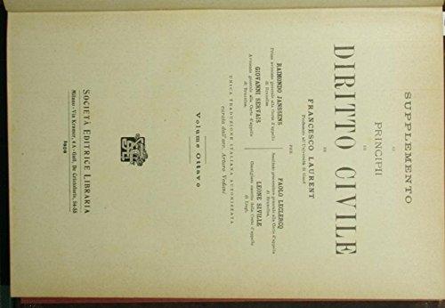 Supplemento ai Principi di diritto civile di Francesco Laurent. Vol. VIII