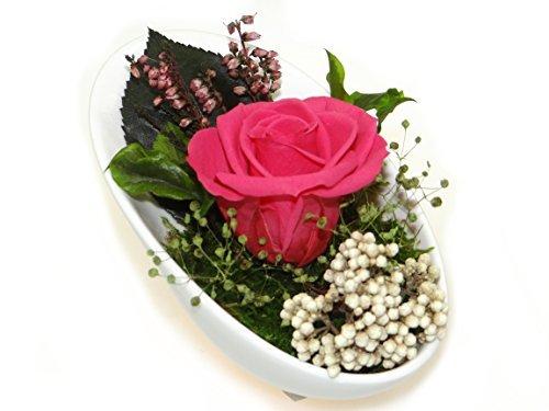 Rosen-te-amo Blumen-Gesteck aus ECHTE Konservierte-Rosen, Blumen-Strauß in der Vase, aus 1 haltbare-Rose – unser EXKLUSIVES Blumen-Arrangement sind lange haltbar, handgemacht und mit Liebe gefertigt