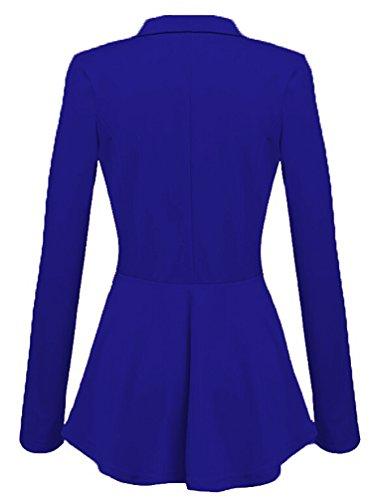 Ghope Blousons Blazers Femmes Veste Courte Coupe Cintrée Plusieurs Couleurs - Printemps Automne Hiver Plaine Longues Manches Vintage Vente Casual Elegant Mode Promotion Sexy Bouton Jacket Bleu
