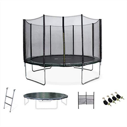 Alice's Garden - Cama elastica, Trampolin de 370 cm, aguanta hasta 150 kg (estructura reforzada). Inluye: escalera + funda protectora + bolsilla para zapatos+ kit de anclaje - SATURNE XXL