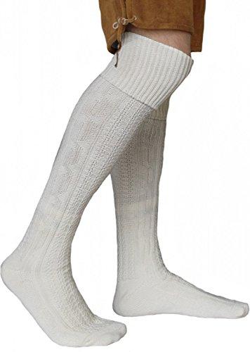 German Wear EXTRA Lange Trachtensocken Strümpfe Trachtenlederhose Socken aus Wolle Natur 75cm, Größe:43-46