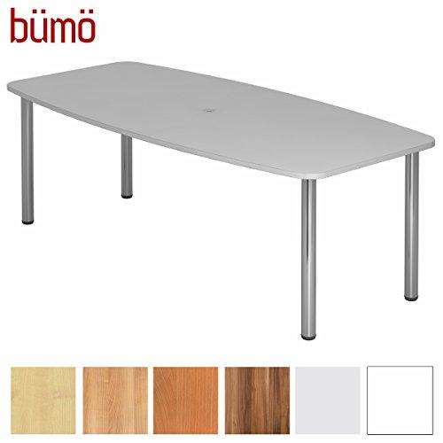 Bümö Konferenztisch rund oval 220 x 103 cm in Grau | Besprechungstisch mit Chromfüße |...