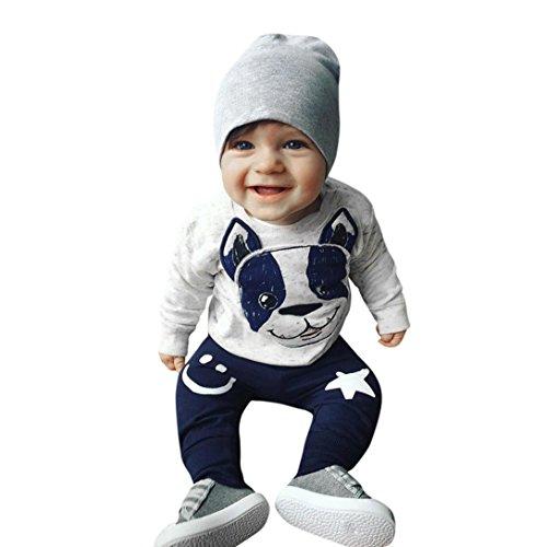 Ausgefallene Babykleidung Hirolan 2Stk Kleinkind Baby Jungen Mädchen Karikatur Hund Ohren Lange Ärmel Tops Baumwolle Hose Beiläufig Outfit Kleider Set (70, Grau)
