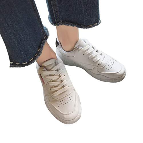 OSYARD Damen Sportschuhe Laufschuhe,Schnürer Fitnessschuhe Leicht Atmungsaktiv Outdoorschuhe, Frauen Einfarbig Flache Freizeitschuhe Gym Turnschuhe Lace-Up Running Sneaker(225/36, Schwarz)