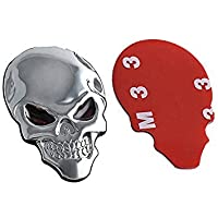 TOOGOO(R) Fashion Punk 3D Skull Skeleton Badge Car/Motorcycle Metal Sticker Cool Decal, Silver