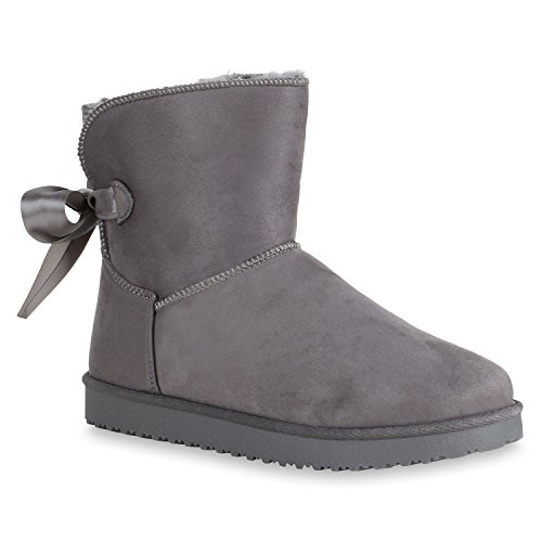 e4b705e2c521 Stiefelparadies Warm Gefütterte Damen Stiefeletten Schlupfstiefel Boots  Schleifen 152037 Grau 36 Flandell