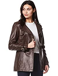 Smart Range Trench Ladies Brown Classic Mid-Length Designer Real Leather Jacket Coat 1123