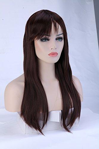 Parrucca cosplay lunga da donna capelli sintetici lisci con frangetta wig anime 58cm 23