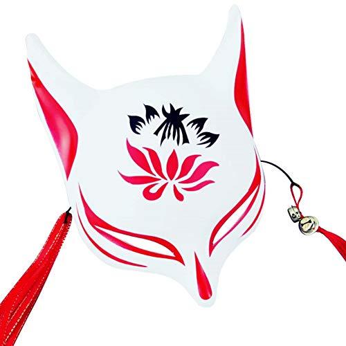 Hankyky japanischen Stil Cosplay Maske Anime Fox Maske mit Quasten und Glöckchen obere Hälfte Gesicht bedeckt für Erwachsene und Kinder Maskeraden Festival Kostüm Party ()