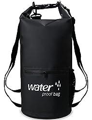 XBoze Bolsa Seca Impermeable Dry Bag 10L/20L Bolsa Estanca con Cremallera Delantera Bolsillo para Natación Pesca Kayaking Camping Rafting Canotaje Senderismo Viajar Snowboard Esquí (negro, 20L)
