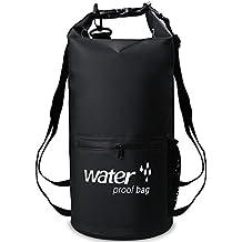 XBoze Bolsa Seca Impermeable Dry Bag 10L/20L Bolsa Estanca con Cremallera Delantera Bolsillo para Natación Pesca Kayaking Camping Rafting Canotaje Senderismo Viajar Snowboard Esquí (negro, 10L)