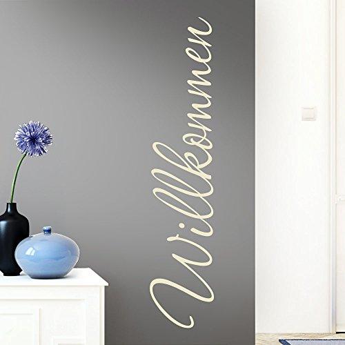 Grandora Wandtattoo Wort Willkommen I cremeweiß 26 x 120 cm I deutsch Flur Diele Eingang selbstklebend Aufkleber Wandaufkleber Wandsticker W1099