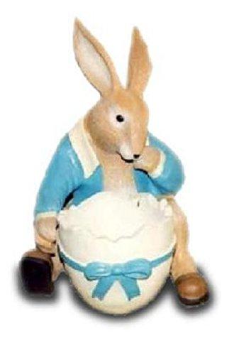 Coniglio pasquale con guscio d' uovo come un vaso a grandezza naturale 48cm per esterni in poliresina