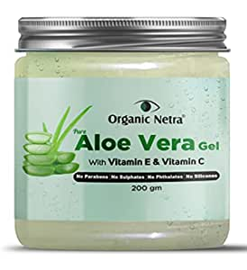 Organic Netra® Pure Aloe Vera Gel With Vitamin C & E   Cold Pressed   For Skin, Face, Hair   Paraben Free   Sulphate Free - 200 gm