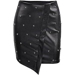 OULII Falda de Mujer Bodycon PU Midi Falda de Cuero Brillante Stud tamaño L (Negro)