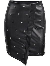 OULII Falda de Mujer Bodycon PU Midi Falda de Cuero Brillante Stud tamaño L  (Negro d4a3d0b0428e