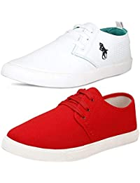 RIFOF Men's Combo Pack of 2 Red & White Casual Sneakers Shoes for Men's