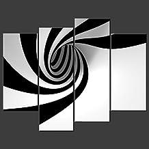 Impresión de Lienzo de Pared Arte Pinturas para decoración para el hogar negro y blanco rayas en círculo 4piezas Panel moderno Giclée lienzo enmarcado arte la abstracto fotos impresiones de fotos sobre Lienzo para habitación decoración