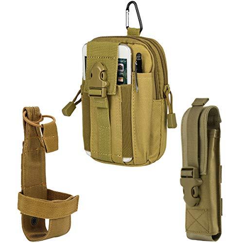 IronSeals AQ Tactical Molle-Tasche EDC Hüfttasche, Handyholster & Wasserflaschenhalter & Taschenlampen, Khaki, Einheitsgröße -