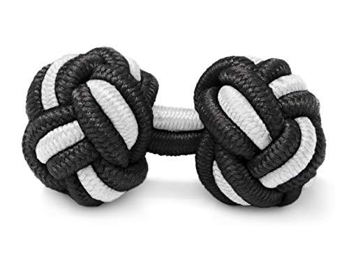 THE SUITS CREW Manschettenknöpfe Seidenknoten Herren Damen Nylon Stoff | Cufflinks Silk Knots für Umschlagmanschetten Hemden | versch. Farben (Schwarz ()
