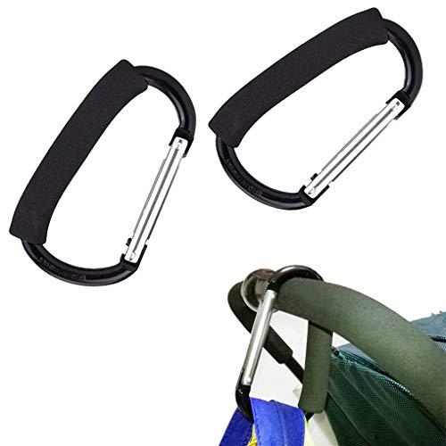GYDING Karabiner Kinderwagen Haken Taschenhaken Befestigung für Taschen, Mummy Kinderwagen Haken Taschenhaken Einkaufstasche Halter für Outdoor Camping Wandern Angeln (Schwarz 2 Stück)