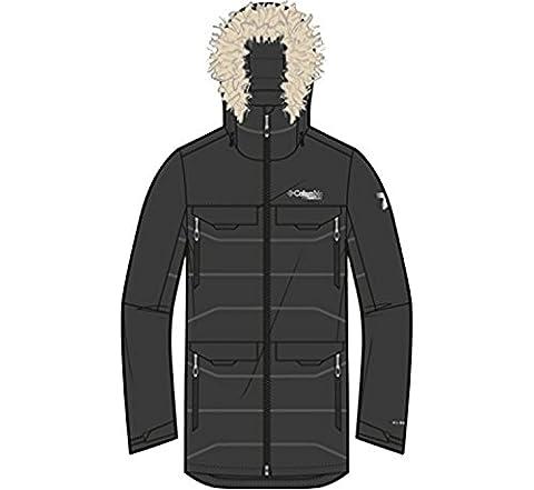 Columbia Men's Heatzone 1000 TurboDown Long Hooded Parka Jacket, Black, XL