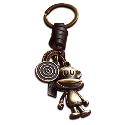 Llavero bronce antiguo diseño mono feliz piel auténtica