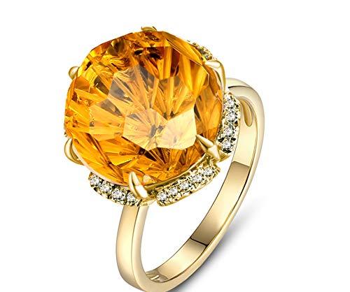 AmDxD Bijoux Bague de Promettre Femme Or 18K 6-Prong Set Naturel Citrine Diamant Bague Or Taille 49