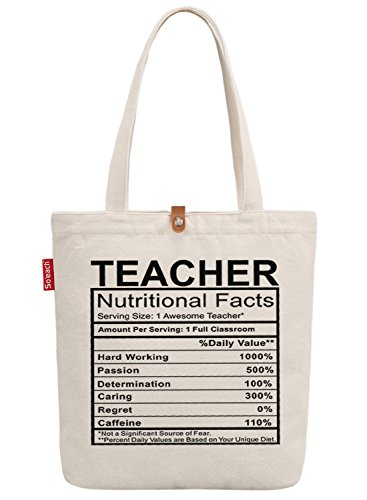 So'each Women's Teacher Letters Graphic Canvas Tote Shopper Shopping Bag (Tote Tiger Bag Canvas)