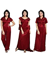 Kinu Touch Women's Satin Nighty 4 Set (Housecoat, Nighty, Top, Pyjama) (Free-Size 28 to 36 Regular)