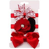 Malloom 3pcs Bebé Infantil elásticos diadema floral Mariposa bowknot Banda Para La Cabeza Diadema Conjunto