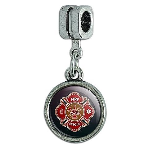Firefighter Fire Rescue Maltese Cross Italian European Style Bracelet Charm Bead