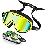 Aegend Kids Swimming Goggles, Swimming Goggles Kids Anti-Fog Anti-Leak UV Protection Large Swim