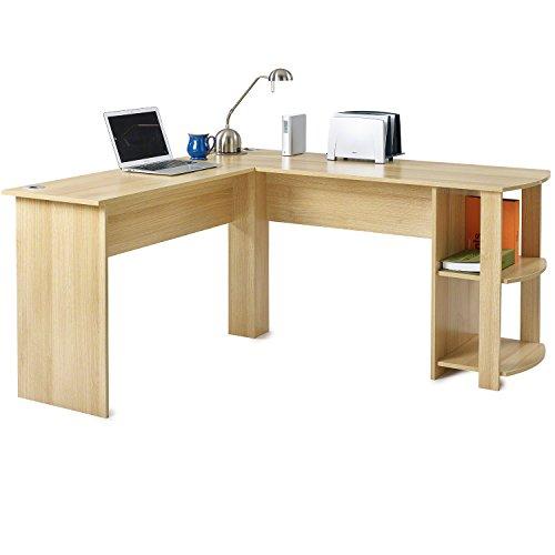 ecktisch holz L-förmiger Computer und Büroschreibtisch, großer PC-Ecktisch mit 2Ablagen für Zuhause und Büro eiche