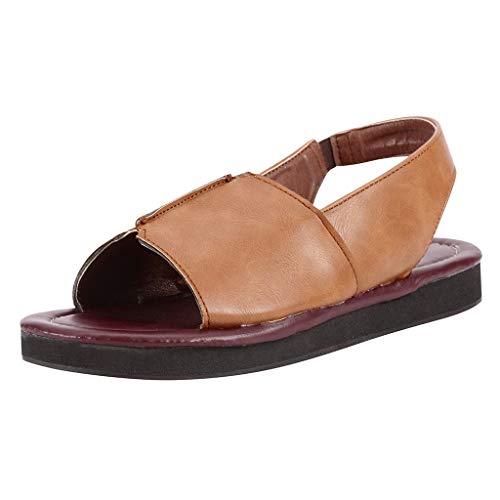 ueme offene Zehen Sandalen Riemchen Wohnungen Sommer Slingback Sandale lässig Slipper Vintage weiches Leder Plaform Schuhe ()