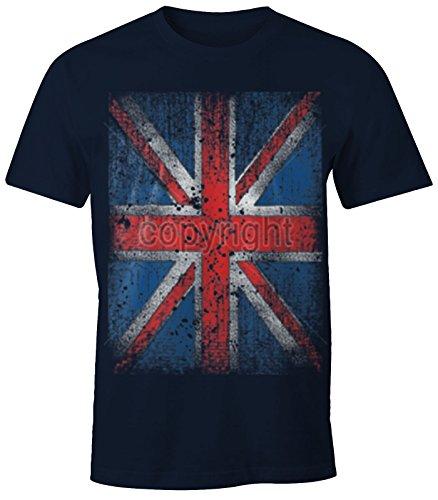 Herren T-Shirt UNION JACK Flagge England Großbrittanien British Flag Grunge Vintage Navy